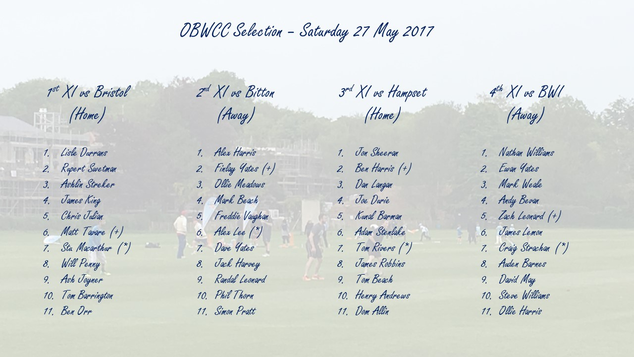 OBWCC Selection - 27 May 2017